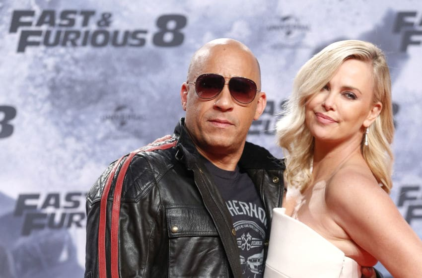 BERLIN, GERMANY - APRIL 04: Vin Diesel and Charlize Theron attend the Fast
