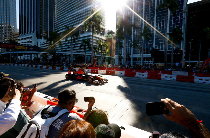 MIAMI, FL - OCTOBER 20: Red Bull Racing driver Patrick Friesacher performs a show run during the F1 Festival at Bayfront Park on October 20, 2018 in Miami, Florida. (Photo by Michael Reaves/Getty Images for Red Bull)