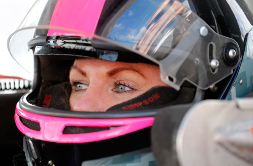 FORT WORTH, TX - NOVEMBER 01: Jennifer Jo Cobb, driver of the #10 Driven2Honor.org Chevrolet, sits in her truck during practice for the NASCAR Camping World Truck Series JAG Metals 350 at Texas Motor Speedway on November 1, 2018 in Fort Worth, Texas. (Photo by Brian Lawdermilk/Getty Images)