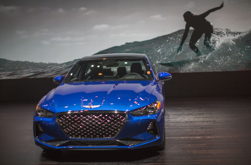 LOS ANGELES, CA - NOVEMBER 29: The Genesis G70, named Motor Trend Car of the Year, is shown at the auto trade show, AutoMobility LA, at the Los Angeles Convention Center on November 29, 2018 in Los Angeles, California. More than 50 vehicles will debut during AutoMobility LA, which precedes the LA Auto Show, open to the public December 1 through 10. (Photo by David McNew/Getty Images)