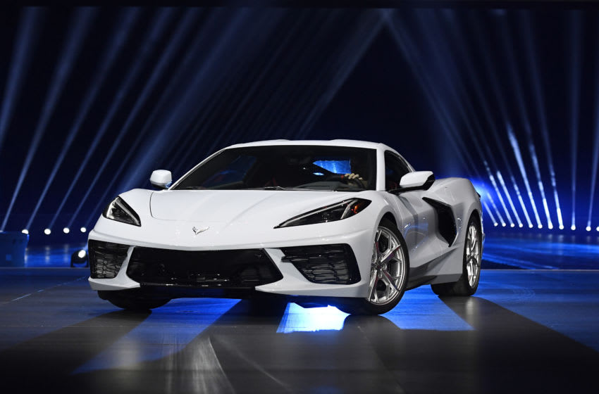 TUSTIN, CA - JULY 18: The 2020 mid-engine C8 Corvette Stingray by General Motors is unveiled during a news conference on July 18, 2019 in Tustin, California. (Photo by Kevork Djansezian/Getty Images)