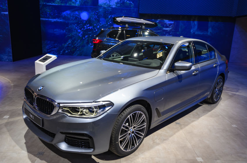 BRUSSELS, BELGIUM - JANUARY 9: BMW 5 Series sedan on display at Brussels Expo on January 9, 2020 in Brussels, Belgium. The current generation of BMW 3 Series cars consists of the BMW G30 (sedan) and BMW G31 (station wagon or 'Touring') (Photo by Sjoerd van der Wal/Getty Images)