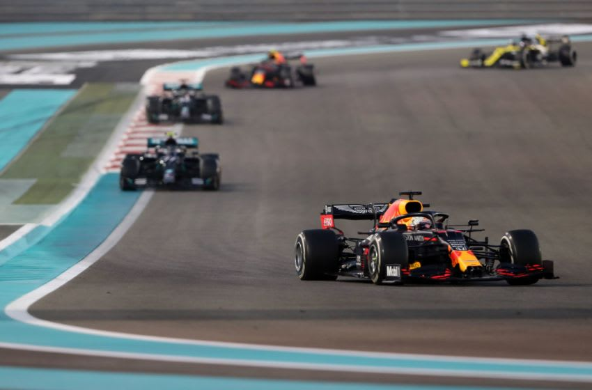 Red Bull's Dutch driver Max Verstappen leads the pack during the Abu Dhabi Formula One Grand Prix at the Yas Marina Circuit in the Emirati city of Abu Dhabi on December 13, 2020. (Photo by KAMRAN JEBREILI / POOL / AFP) (Photo by KAMRAN JEBREILI/POOL/AFP via Getty Images)