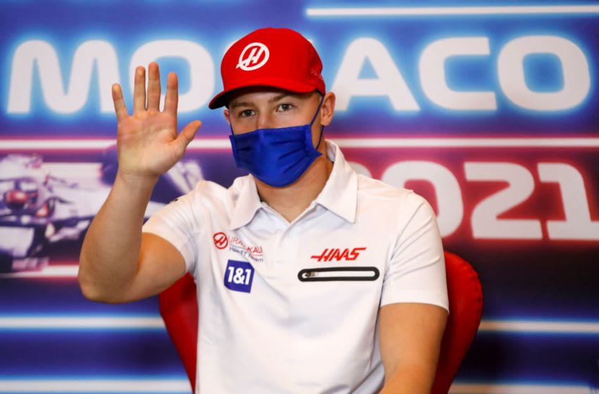Haas F1's Russian driver Nikita Mazepin gives a press conference in Monaco, on May 19, 2021, ahead of the Monaco Formula One Grand Prix. (Photo by Sebastien Nogier / POOL / AFP) (Photo by SEBASTIEN NOGIER/POOL/AFP via Getty Images)