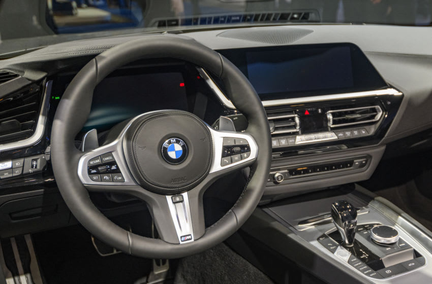BRUSSELS, BELGIUM - JANUARY 9: BMW Z4 Roadster compact convertible sports car on display at Brussels Expo on January 9, 2020 in Brussels, Belgium. The BMW Z4 (G29 Z4) is fitted with a soft-top convertible roof. The car is equipped with a large digital dashboard and touch screen on the centre console (Photo by Sjoerd van der Wal/Getty Images)
