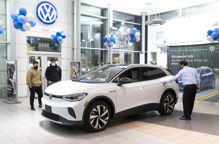 THOUSAND OAKS, CA - JANUARY 19: The new all-electric Volkswagen ID.4 is on display inside a dealership on January 19, 2021 in Thousand Oaks, California. (Photo by Josh Lefkowitz/Getty Images)