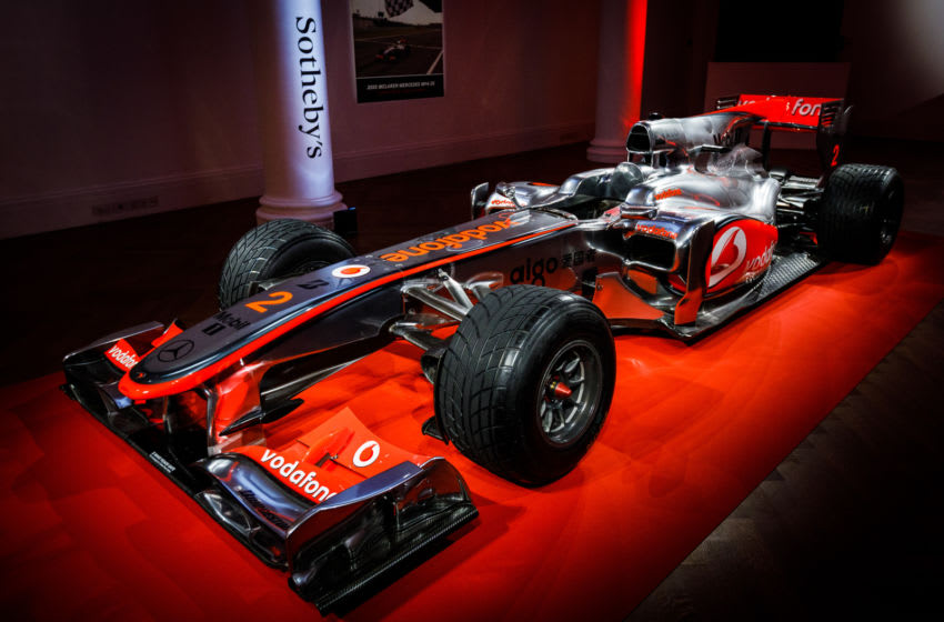 LONDON, ENGLAND - MAY 18: The first Lewis Hamilton Formula 1 race winning car to come to the market goes on view at Sotheby's on May 18, 2021 in London, England. The live auction takes place at the 2021 British Grand Prix at Silverstone on Saturday 17 July.. Winner of the 2010 Turkish Grand Prix, the McLaren Mercedes MP4-25A is offered by Formula 1 and RM Sotheby's, estimate: $5-7million. (Photo by Tristan Fewings/Getty Images for Sotheby's)