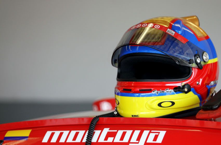 DAYTONA BEACH, FL - FEBRUARY 20: The helmet of the Juan Pablo Montoya sits on top of the #42 Target Chevrolet in the garage during practice for the NASCAR Sprint Cup Series Daytona 500 at Daytona International Speedway on February 20, 2013 in Daytona Beach, Florida. (Photo by Todd Warshaw/Getty Images)