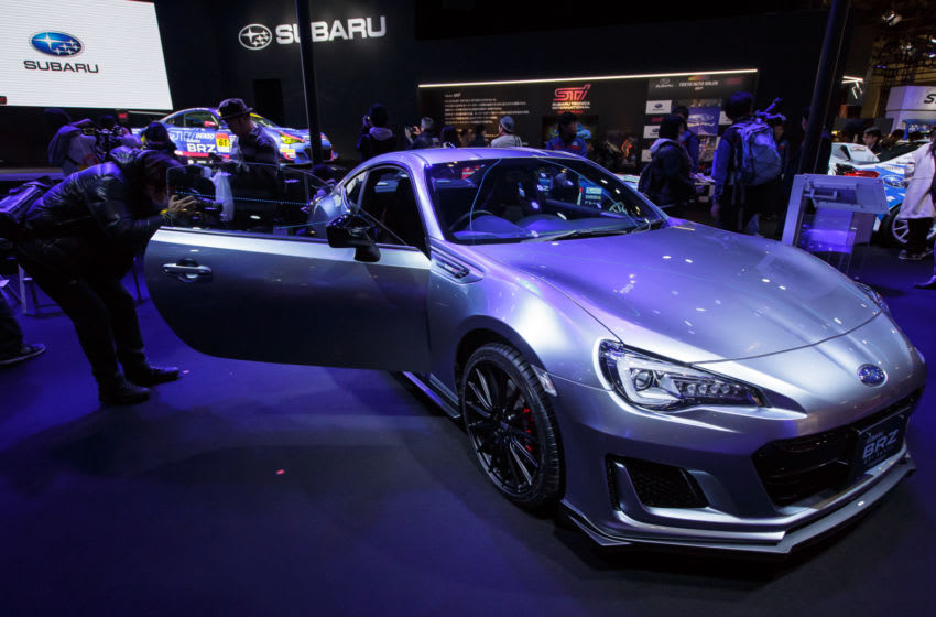 CHIBA, JAPAN - JANUARY 13: A visitor takes a photo of the interior of a Subaru BRZ STI Sport Concept on display during the 2017 Tokyo Auto Salon car show on January 13, 2017 in Chiba, Japan. Tokyo Auto Salon 2017 is held from January 13 to 15, 2017. (Photo by Christopher Jue/Getty Images)
