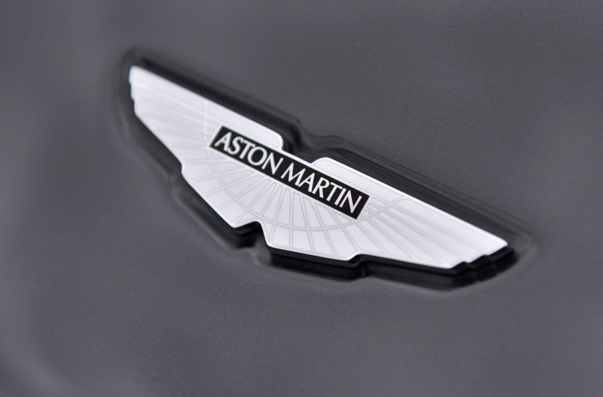 LONDON, ENGLAND - MAY 04: A Aston Martin bonnet badge on display at the London Motor Show at Battersea Evolution on May 4, 2017 in London, England. 41 dealerships and manufacturers will showcase over 130 new vehicles at this years show which will run from 4th to 7th May. (Photo by John Keeble/Getty Images)
