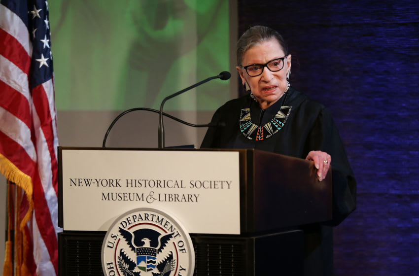 NEW YORK, NY - APRIL 10: U.S. Supreme Court Justice Ruth Bader Ginsburg prepares to administer the Oath of Allegiance to candidates for U.S. citizenship at the New-York Historical Society on April 10, 2018 in New York City. Two hundred candidates from 59 countries participated in the morning ceremony becoming American citizens. (Photo by Spencer Platt/Getty Images)