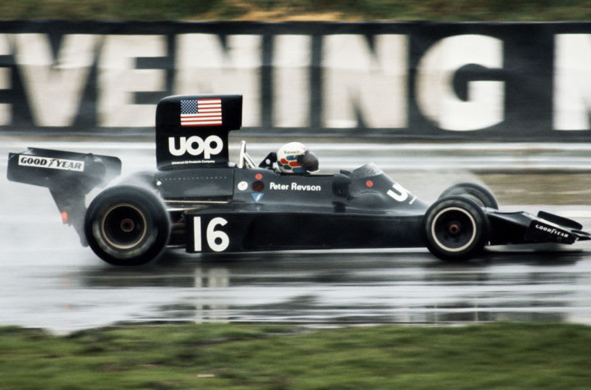 Peter Revson drives the #16 UOP Shadow Racing Team Shadow Cosworth DN3 during the Daily Mail Race of Champions on 17 March 1974 at the Brands Hatch circuit in Fawkham, Great Britain. (Photo by Steve Powell/Getty Images)