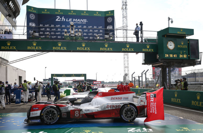 LE MANS, FRANCE - 20 SEP: The race winning #08 Toyota Gazoo Racing Toyota TS050 Hybrid in parc ferme at the Circuit de la Sarthe on September 20, 2020 in Le Mans, France. (Photo by James Moy Photography/Getty Images)