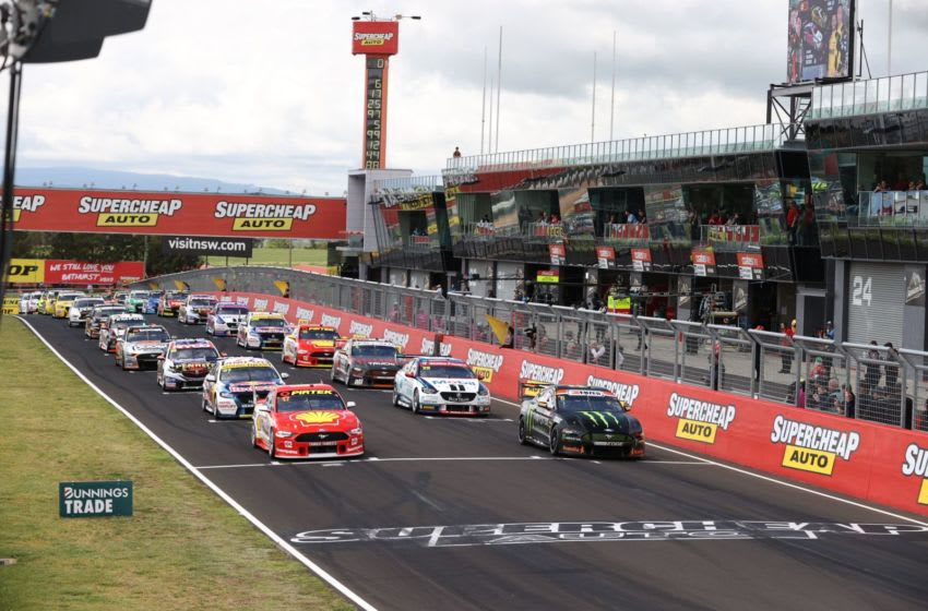 BATHURST, AUSTRALIA - OCTOBER 18: In this handout photo provided by Edge Photographics A general view as the field takes to the start line during the Bathurst 1000 which is part of the 2020 Supercars Championship, at Mount Panorama on October 18, 2020 in Bathurst, Australia. (Photo by Handout/Mark Horsburgh/Edge Photographics via Getty Images)