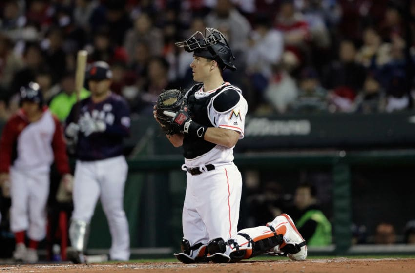 HIROSHIMA, JAPAN - NOVEMBER 13: Catcher J.T. Realmuto #11 of the Miami Marlins is seen in the top of 2nd inning during the game four between Japan and MLB All Stars at Mazda Zoom Zoom Stadium Hiroshima on November 13, 2018 in Hiroshima, Japan. (Photo by Kiyoshi Ota/Getty Images)