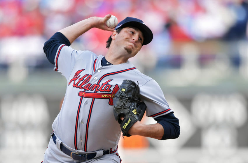 PHILADELPHIA, PA - MARCH 28: Luke Jackson #77 of the Atlanta Braves delivers a pitch in the seventh inning against the Philadelphia Phillies on Opening Day at Citizens Bank Park on March 28, 2019 in Philadelphia, Pennsylvania. (Photo by Drew Hallowell/Getty Images)