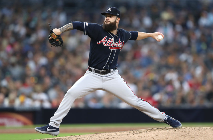 SAN DIEGO, CALIFORNIA - JULY 12: Dallas Keuchel #60 of the Atlanta Braves pitches during the second inning of a game against the San Diego Padres at PETCO Park on July 12, 2019 in San Diego, California. (Photo by Sean M. Haffey/Getty Images)