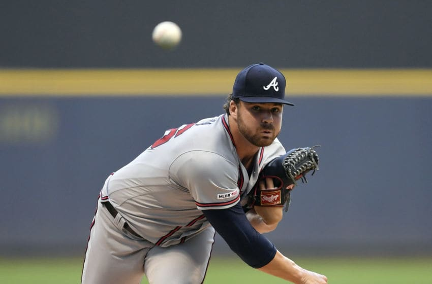 MILWAUKEE, WISCONSIN - JULY 16: Starting pitcher Bryse Wilson #46 of the Atlanta Braves delivers the ball in the first inning against the Milwaukee Brewers at Miller Park on July 16, 2019 in Milwaukee, Wisconsin. (Photo by Quinn Harris/Getty Images)