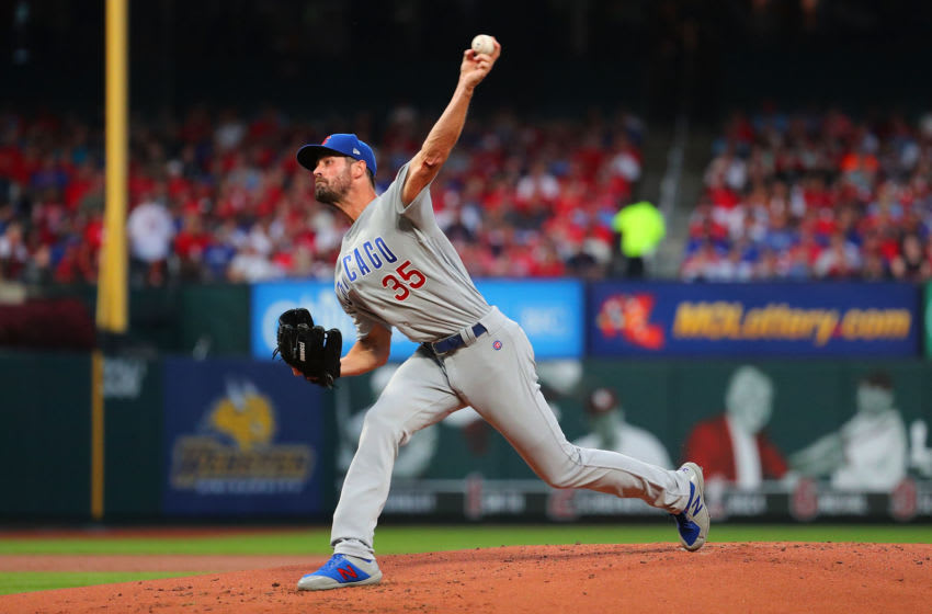 ST LOUIS, MO - SEPTEMBER 28: Cole Hamels #35 of the Chicago Cubs delivers a pitch against the St. Louis Cardinals in the first inning at Busch Stadium on September 28, 2019 in St Louis, Missouri. (Photo by Dilip Vishwanat/Getty Images)