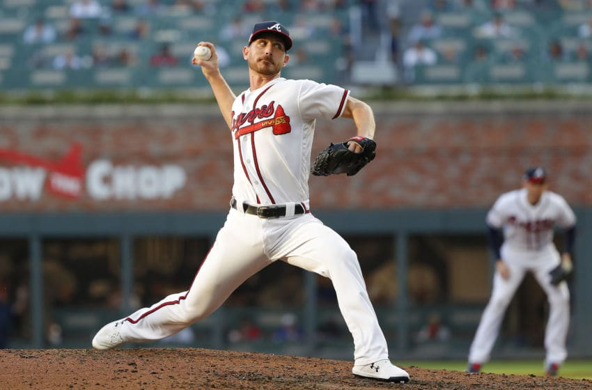 ATLANTA, GEORGIA - OCTOBER 09: Josh Tomlin #32 of the Atlanta Braves delivers the pitch against the St. Louis Cardinals during the third inning in game five of the National League Division Series at SunTrust Park on October 09, 2019 in Atlanta, Georgia. (Photo by Kevin C. Cox/Getty Images)