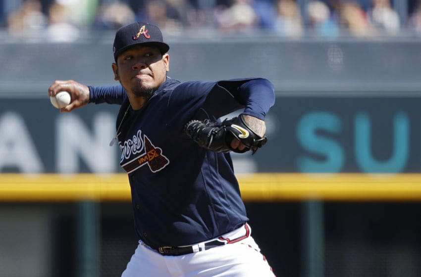 NORTH PORT, FL - FEBRUARY 22: Felix Hernandez #34 of the Atlanta Braves pitches in the second inning of a Grapefruit League spring training game against the Baltimore Orioles at CoolToday Park on February 22, 2020 in North Port, Florida. (Photo by Joe Robbins/Getty Images)