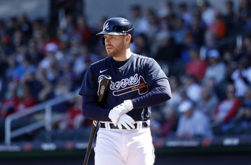 NORTH PORT, FL - FEBRUARY 22: Freddie Freeman #5 of the Atlanta Braves looks on before stepping to the plate to bat during a Grapefruit League spring training game against the Baltimore Orioles at CoolToday Park on February 22, 2020 in North Port, Florida. The Braves defeated the Orioles 5-0. (Photo by Joe Robbins/Getty Images)
