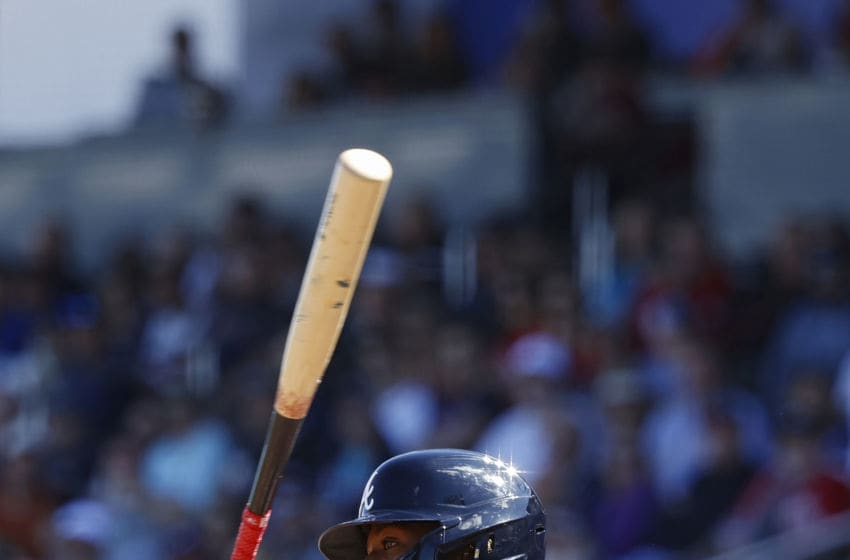 NORTH PORT, FL - FEBRUARY 22: Ronald Acuna Jr. #13 of the Atlanta Braves bats during a Grapefruit League spring training game against the Baltimore Orioles at CoolToday Park on February 22, 2020 in North Port, Florida. The Braves defeated the Orioles 5-0. (Photo by Joe Robbins/Getty Images)
