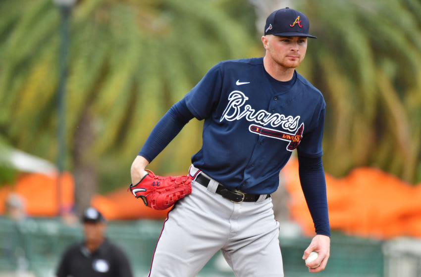 SARASOTA, FLORIDA - FEBRUARY 26: Sean Newcomb #15 of the Atlanta Braves prepares to deliver a pitch to the Baltimore Orioles during the first inning of a spring training game at Ed Smith Stadium on February 26, 2020 in Sarasota, Florida. (Photo by Julio Aguilar/Getty Images)