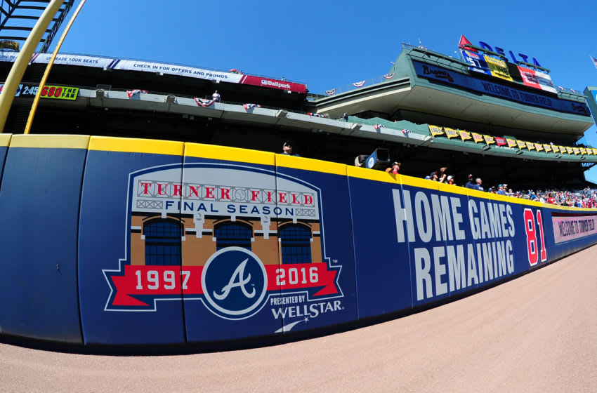 ATLANTA, GA - APRIL 4: Logos on the outfield wall of Turner Field count down the final games as the Atlanta Braves prepare to host the Washington Nationals at Turner Field during Opening Day on April 4, 2016 in Atlanta, Georgia. (Photo by Scott Cunningham/Getty Images)