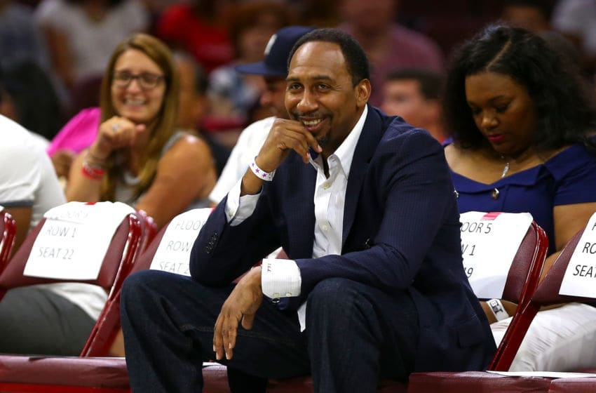 PHILADELPHIA, PA - JULY 16: TV personality Stephen A. Smith looks on during week four of the BIG3 three on three basketball league at Wells Fargo Center on July 16, 2017 in Philadelphia, Pennsylvania. (Photo by Mitchell Leff/BIG3/Getty Images)