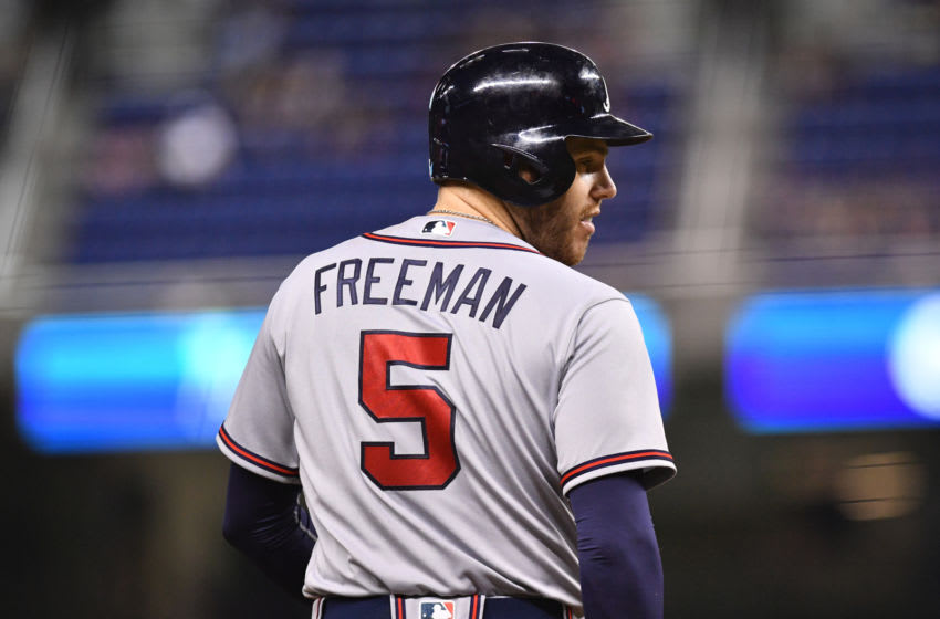 MIAMI, FL - MAY 12: Freddie Freeman #5 of the Atlanta Braves on third base in the eighth inning against the at Marlins Park on May 12, 2018 in Miami, Florida. (Photo by Mark Brown/Getty Images)