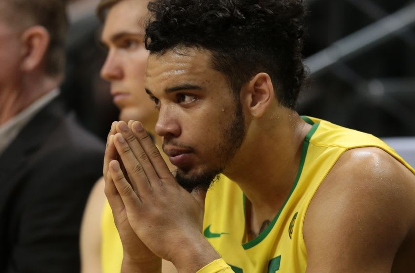 Nov 30, 2016; Eugene, OR, USA; Near the end of the game Oregon Ducks forward Dillon Brooks (24) sits on the side line Western Oregon at Matthew Knight Arena. Mandatory Credit: Scott Olmos-USA TODAY Sports