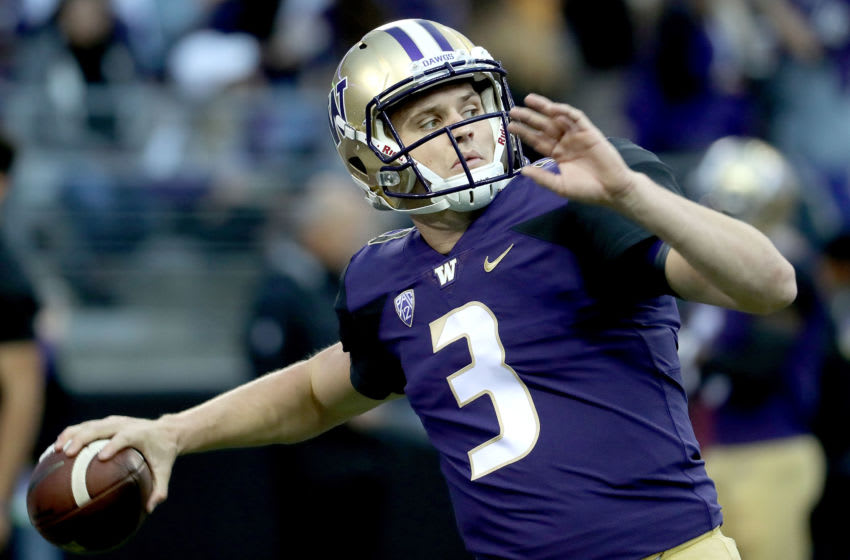 SEATTLE, WA - SEPTEMBER 22: Jake Browning #3 of the Washington Huskies warms up prior to taking on the Arizona State Sun Devils during their game at Husky Stadium on September 22, 2018 in Seattle, Washington. (Photo by Abbie Parr/Getty Images)