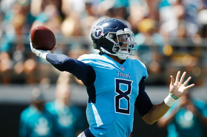 JACKSONVILLE, FL - SEPTEMBER 23: Marcus Mariota #8 of the Tennessee Titans looks to pass the football during their game against the Jacksonville Jaguars at TIAA Bank Field on September 23, 2018 in Jacksonville, Florida. (Photo by Wesley Hitt/Getty Images)