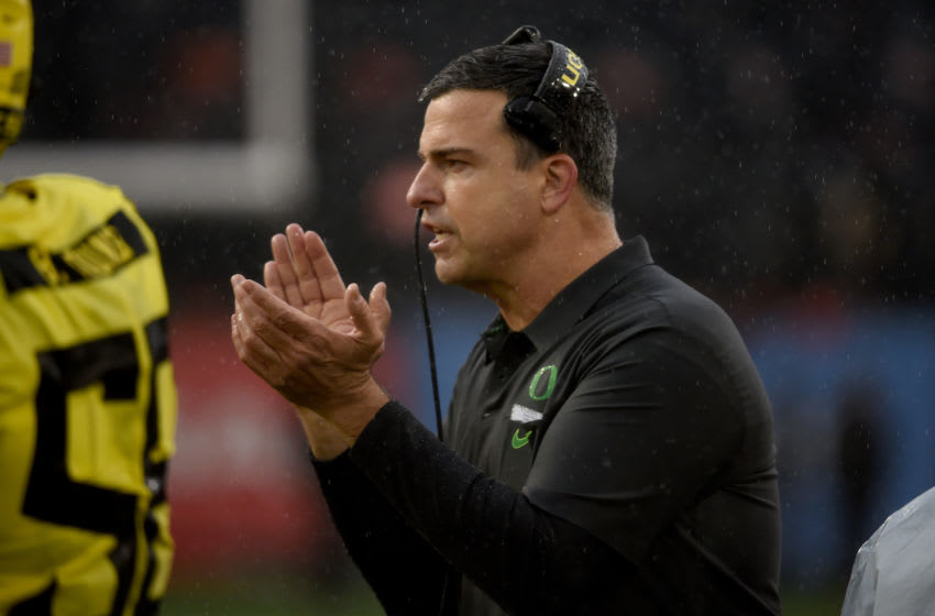 CORVALLIS, OREGON - NOVEMBER 23: Head coach Mario Cristobal of the Oregon Ducks cheers on his team during the second half of the game against the Oregon State Beavers at Reser Stadium on November 23, 2018 in Corvallis, Oregon. (Photo by Steve Dykes/Getty Images)