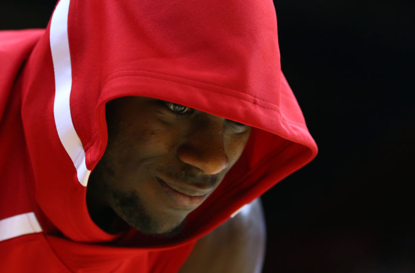 PISCATAWAY, NJ - JANUARY 09: Eugene Omoruyi #5 of the Rutgers Scarlet Knights works out before a game against the Ohio State Buckeyes at Rutgers Athletic Center on January 9, 2019 in Piscataway, New Jersey. (Photo by Rich Schultz/Getty Images)
