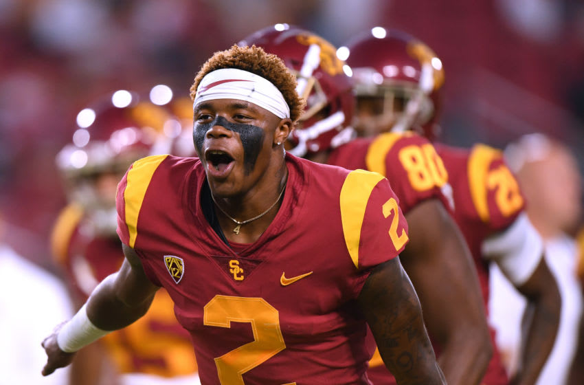 LOS ANGELES, CALIFORNIA - AUGUST 31: Devon Williams #2 of the USC Trojans reacts before the game against the Fresno State Bulldogs at Los Angeles Memorial Coliseum on August 31, 2019 in Los Angeles, California. (Photo by Harry How/Getty Images)