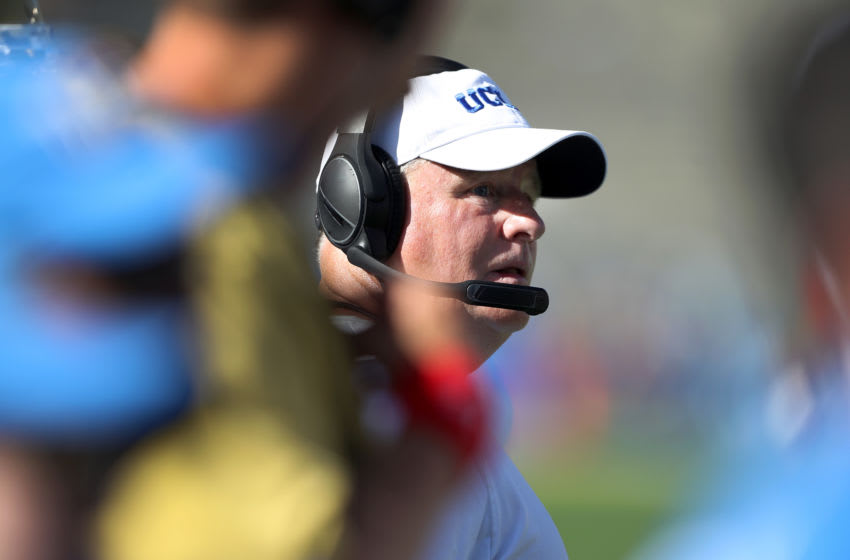 LOS ANGELES, CALIFORNIA - SEPTEMBER 07: Head coach Chip Kelly of the UCLA Bruins looks on during a game against the San Diego State Aztecs in a game on September 07, 2019 in Los Angeles, California. (Photo by Sean M. Haffey/Getty Images)