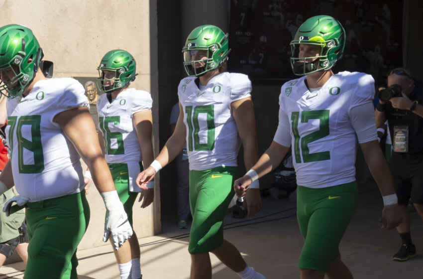 PALO ALTO, CA - SEPTEMBER 21: Alex Forsyth #78, Bradley Yaffe #16, Justin Herbert #10, and Tyler Shough #12 of the Oregon Ducks enter the stadium prior to an NCAA Pac-12 college football game against the Stanford Cardinal on September 21, 2019 at Stanford Stadium in Palo Alto, California. (Photo by David Madison/Getty Images)