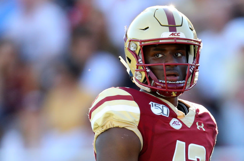 CHESTNUT HILL, MASSACHUSETTS - SEPTEMBER 28: Anthony Brown #13 of the Boston College Eagles looks on during the first half of the game between the Boston College Eagles and the Wake Forest Demon Deacons at Alumni Stadium on September 28, 2019 in Chestnut Hill, Massachusetts. (Photo by Maddie Meyer/Getty Images)