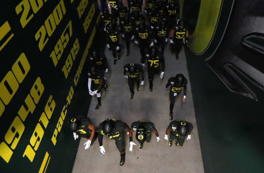 EUGENE, OREGON - OCTOBER 26: The Oregon Ducks take the field prior to taking on the Washington State Cougars during their game at Autzen Stadium on October 26, 2019 in Eugene, Oregon. (Photo by Abbie Parr/Getty Images)