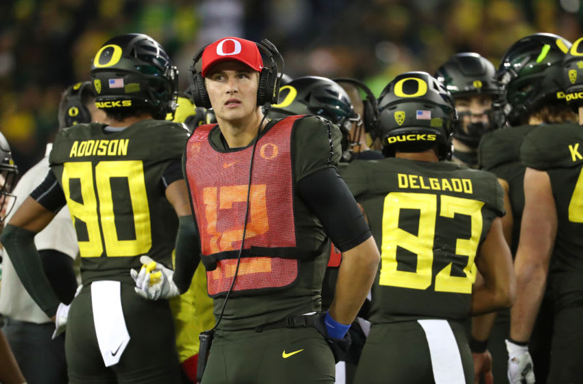 EUGENE, OREGON - OCTOBER 26: Tyler Shough #12 of the Oregon Ducks looks on against the Washington State Cougars in the fourth quarter during their game at Autzen Stadium on October 26, 2019 in Eugene, Oregon. (Photo by Abbie Parr/Getty Images)