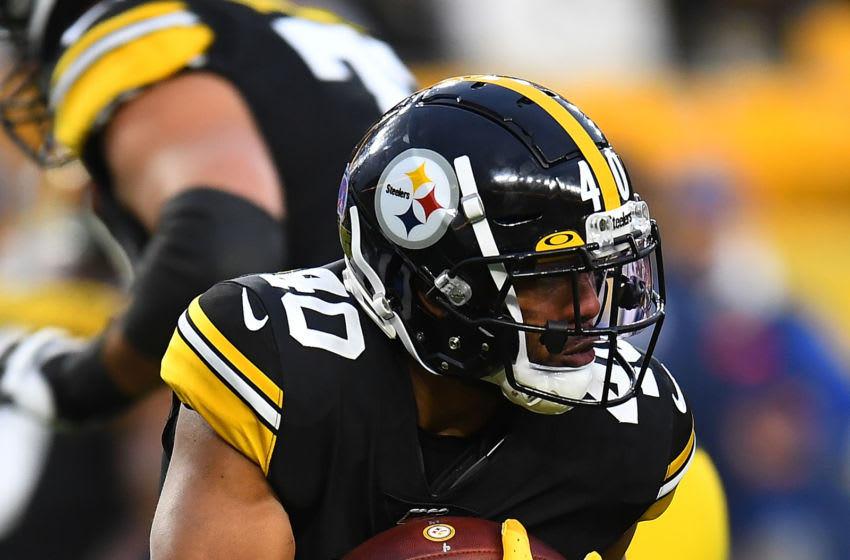PITTSBURGH, PA - NOVEMBER 10: Tony Brooks-James #40 of the Pittsburgh Steelers in action during the game against the Los Angeles Rams at Heinz Field on November 10, 2019 in Pittsburgh, Pennsylvania. (Photo by Joe Sargent/Getty Images)