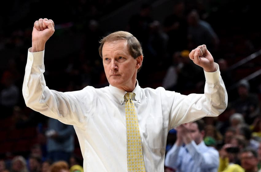 PORTLAND, OREGON - NOVEMBER 12: Head coach Dana Altman of the Oregon Ducks reacts to a play during the first half of the game against the Memphis Grizzlies at Moda Center on November 12, 2019 in Portland, Oregon. (Photo by Steve Dykes/Getty Images)
