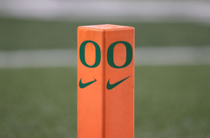EUGENE, OREGON - NOVEMBER 16: A detailed view of a post in the endzone during play against the Oregon Ducks and Arizona Wildcats during their game at Autzen Stadium on November 16, 2019 in Eugene, Oregon. (Photo by Abbie Parr/Getty Images)