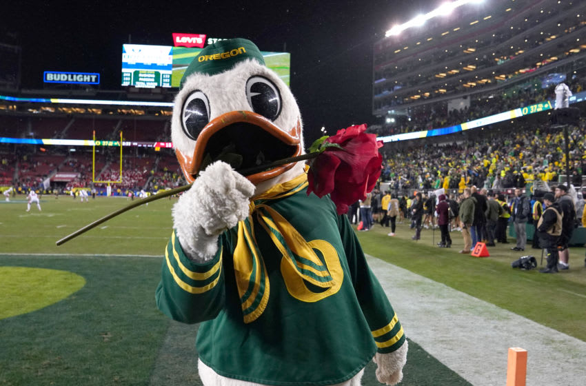 SANTA CLARA, CALIFORNIA - DECEMBER 06: The Oregon Ducks mascot