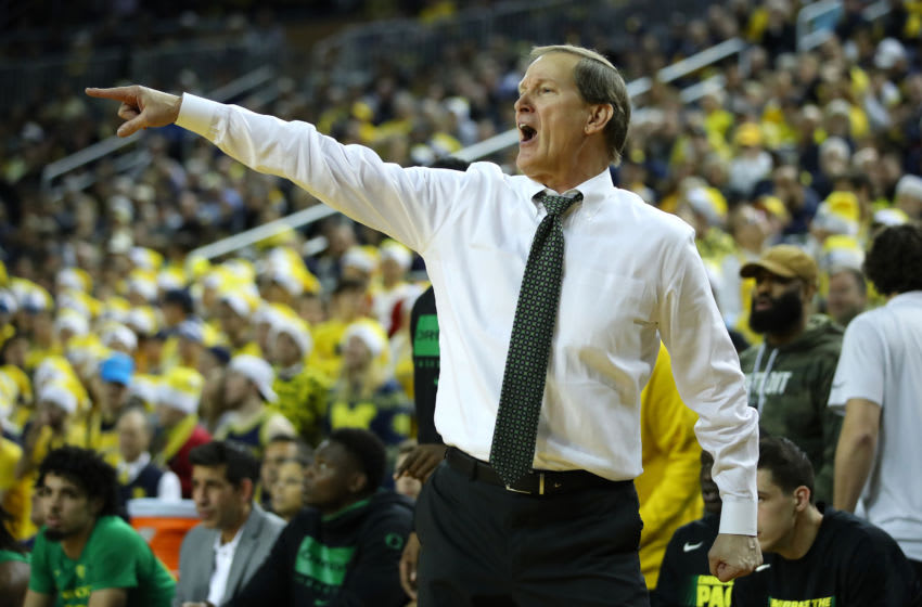 ANN ARBOR, MICHIGAN - DECEMBER 14: Head coach Dana Altman of the Oregon Ducks reacts while playing the Michigan Wolverines at Crisler Arena on December 14, 2019 in Ann Arbor, Michigan. Oregon won the game 71-70 in overtime. (Photo by Gregory Shamus/Getty Images)