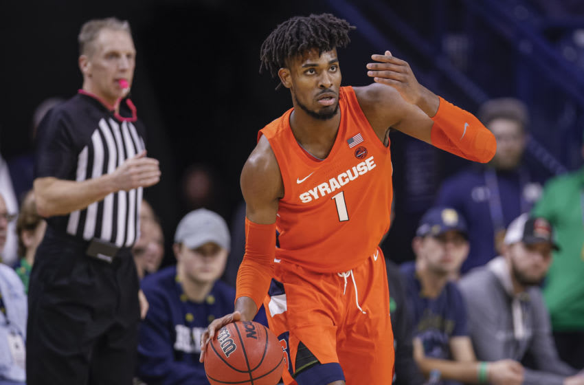SOUTH BEND, IN - JANUARY 22: Quincy Guerrier #1 of the Syracuse Orange brings the ball up court during the game against the Notre Dame Fighting Irish at Purcell Pavilion on January 22, 2020 in South Bend, Indiana. (Photo by Michael Hickey/Getty Images)