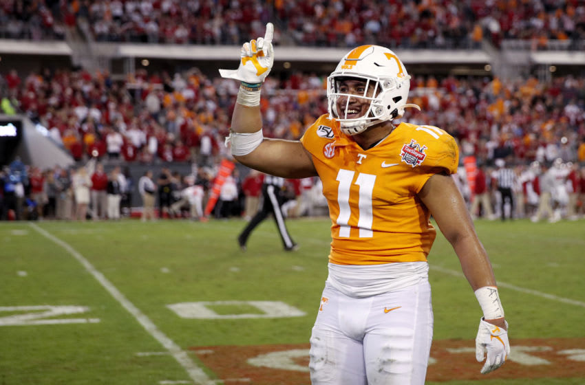 JACKSONVILLE, FL - JANUARY 02: Henry To'o To'o #11 of the Tennessee Volunteers celebrates in the fourth quarter of the TaxSlayer Gator Bowl against the Indiana Hoosiers at TIAA Bank Field on January 2, 2020 in Jacksonville, Florida. Tennessee defeated Indiana 23-22. (Photo by Joe Robbins/Getty Images)