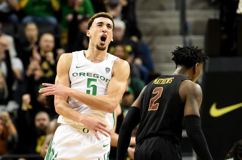 EUGENE, OREGON - JANUARY 23: Chris Duarte #5 of the Oregon Ducks reacts after hitting a shot late in the second overtime against the USC Trojans at Matthew Knight Arena on January 23, 2020 in Eugene, Oregon. Oregon won 79-68 in two overtimes (Photo by Steve Dykes/Getty Images)